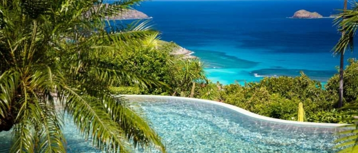 infinity pool, st barts, tropical, paradise