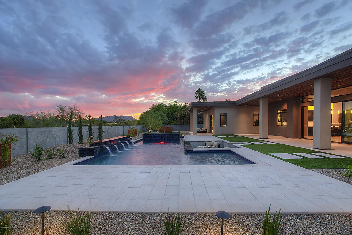 desert home pool spa sunset