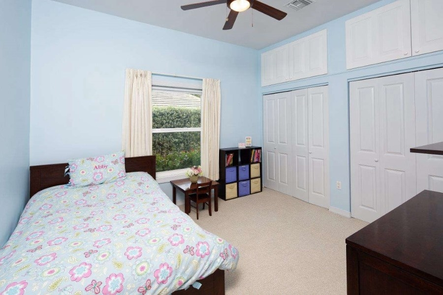 very pale blue bedroom