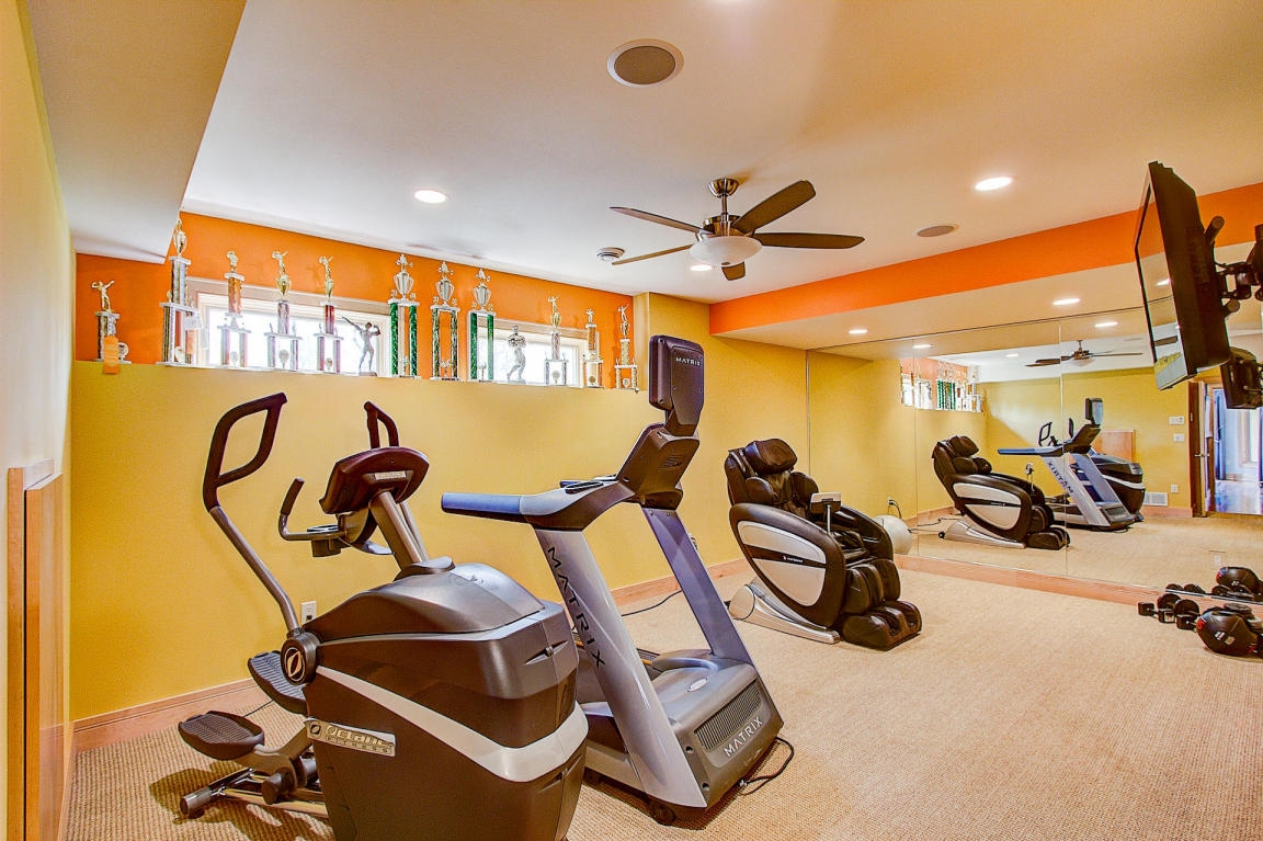 yellow home gym workout room