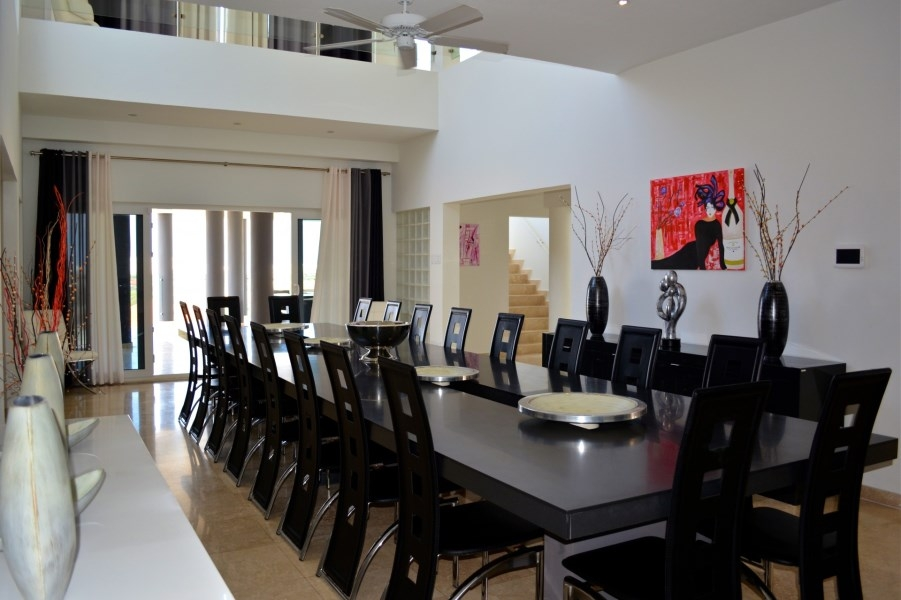 black accented dining room