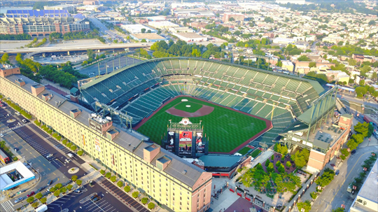 above view of oriole park stadium
