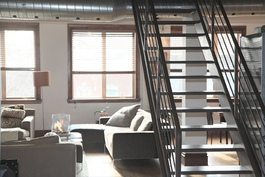 trendy loft with open stairs