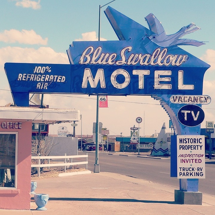 vintage photo, blue swallow motel