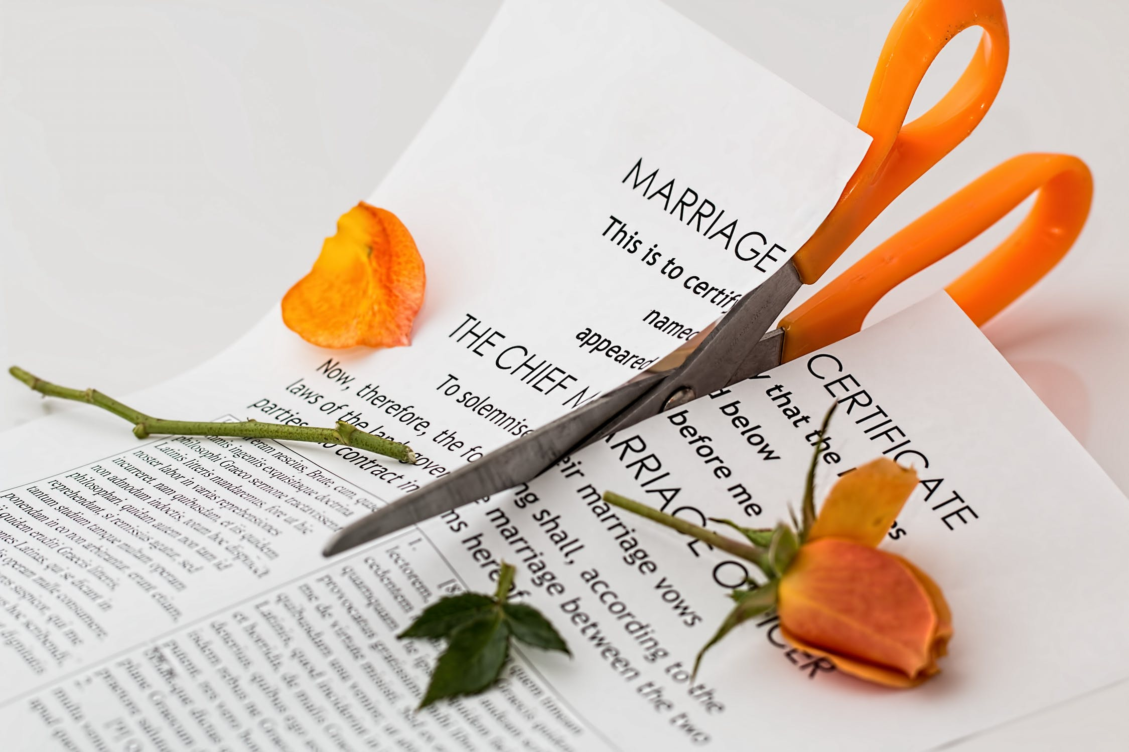 divorce scissors cutting paperwork
