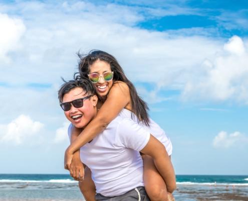 happy couple on beach