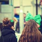 two girls with st pattys day bows