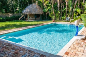 Pool in yard with hut- Miami FL
