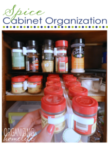 Spices in a cabinet