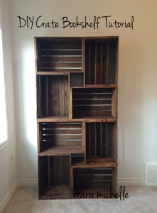 Large bookshelf made of crates stacked on top of each other