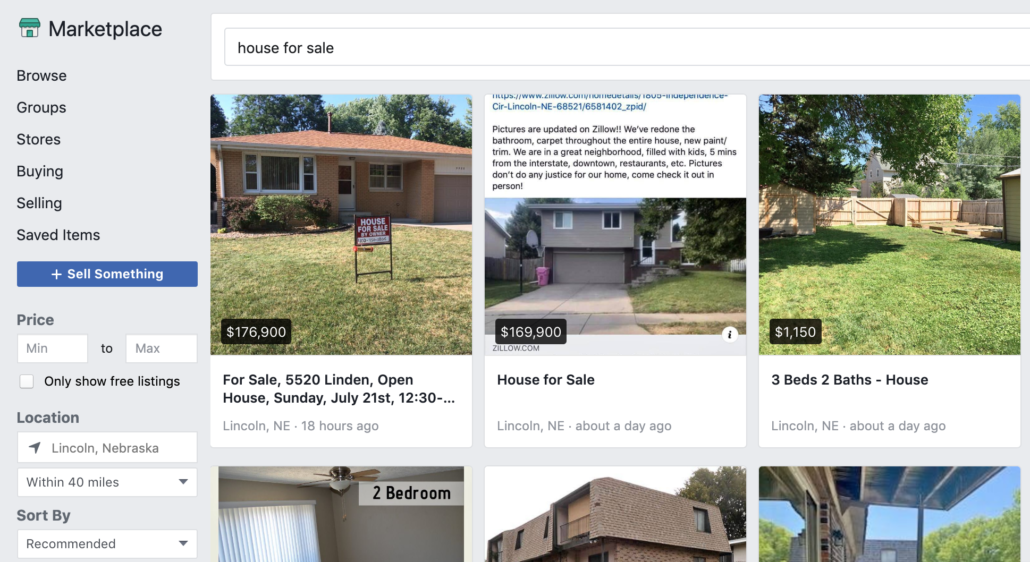 Screenshot of Facebook Marketplace, showing homes for sale