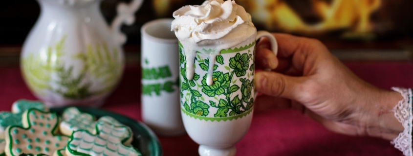 3 Leaf Clover cookies with malt in a St. Patrick's mug