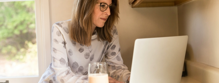 Woman working at a home office